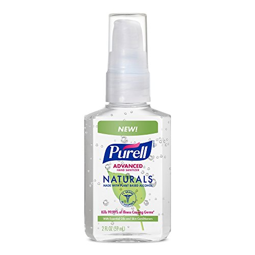 PURELL Naturals Advanced Hand Sanitizer Portable Bottle - Hand Sanitizer Gel with Essential Oils, 2 fl oz Pump Bottle  - 9623-24 (Pack of 6) (Alcohol Sanitizer Hand Based)