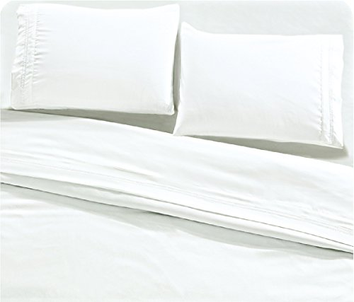 posh home 4 Piece (King, Double Scallop-White) Embroidered Sheet Set