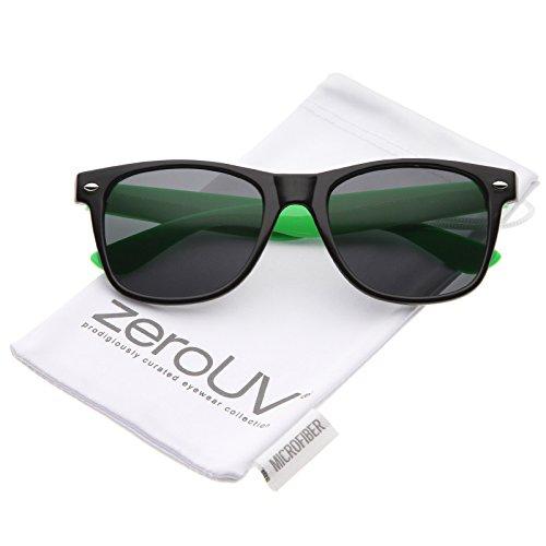 zeroUV - Classic Retro Two-Toned Neon Color Temple Horn Rimmed Sunglasses 54mm (Shiny Black-Green / - Wayfarer Sunglasses Green Neon