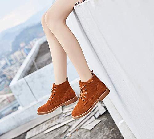 KPHY Damenschuhe Leder Martin Vereiste Stiefel Britischen Stil Frauen Schuhe Stiefel Vereiste Martin Leder Schuhe.38 Khaki. 4b56eb