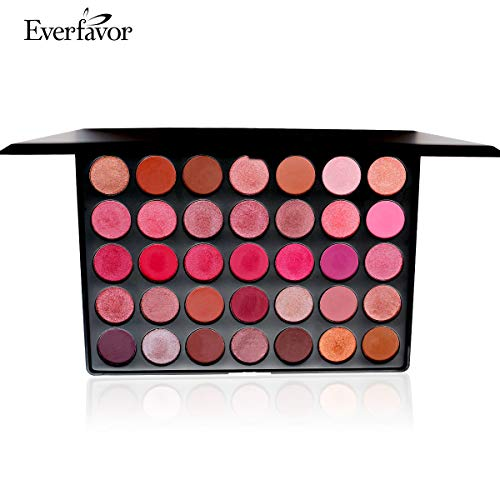 35 Colors Pro Eyeshadow Palette, Pigmented Matte Shimmer Eye shadow Makeup Palette Nature Nude Earth Waterproof Beauty Cosmetics Pallet by Everfavor (5#Val) -
