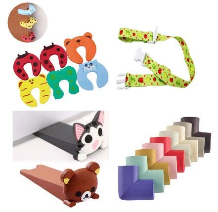 Price comparison product image Safety Baby Proof kit Edge & Corner Guard Set Sippy Cup Bottle Adjustable Strap,  5pcs Door Stopper Finger Pinch and 1 Cute Door Stopper Wedge for Crib Bed Rail Guard Bumper