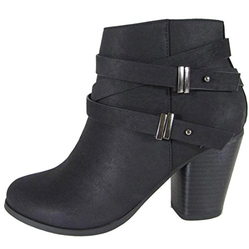 SODA Women's Side Saddle Strap Stacked Chunky Heel Ankle Bootie (10 B(M) US, Black NBPU)