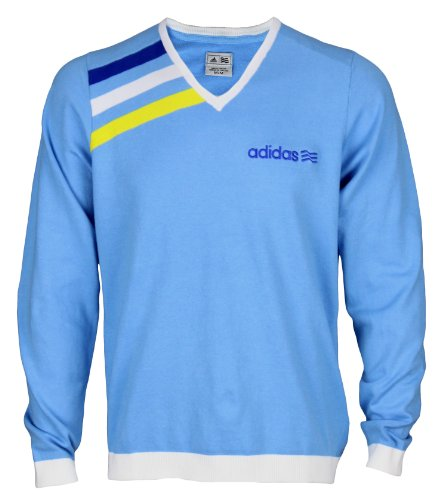 Adidas Mens Athletic Long Sleeve V-Neck Pullover Sweater (Large, Light Blue)