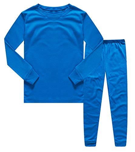 Blue Cotton Pajama - Family Feeling Boys Girls Kids Pajamas Solid Colors 2 Piece Pajama Pants Set 100% Cotton Blue Size 16
