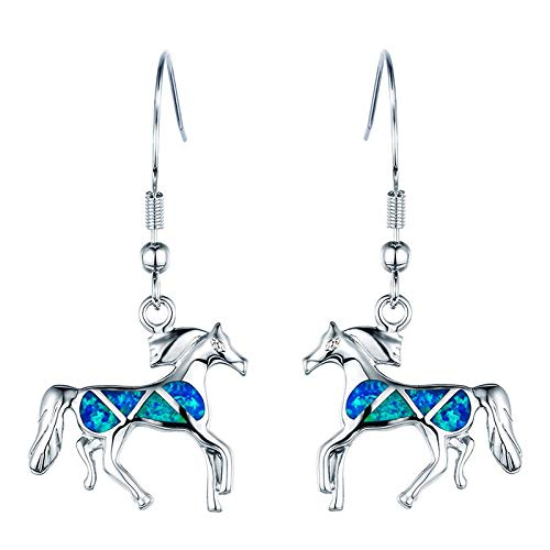 - 1 Pair 925 Silver Horse Shape Blue Fire Opal Drop Dangle Earrings Women Animal Jewelry