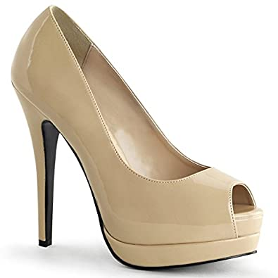 Amazon.com | Womens Elegant Glossy Patent Nude Peep Toe Pumps 5.25 ...