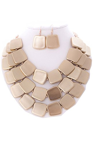 Gold Square Jewelry Set - 3