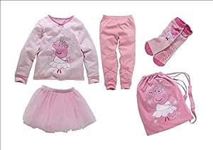 Peppa Pig globalpowder ' rosa pijama conjunto incluye piyamas, tutú tulle suave, bolso de lazo a jersey, y calcetines * Pijamas -100% algodón, bolsa -100% algodón, tutú -100% poliéster, calcetines -79% / algodón 20% / nylon 1% elastánelastano * Por Edad globalpowder 3-4 años