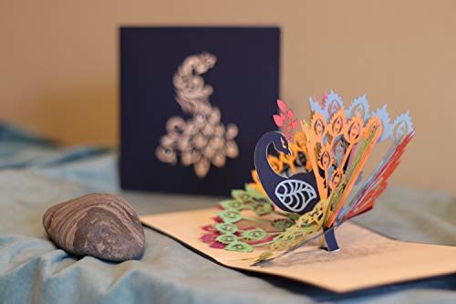 - Peacock 3D Pop Up Greeting Card, Cut Paper Art, Dark Blue Cover with Silhouette Design and Gemstones on each Feather, Blank Card with Envelope by PMPX