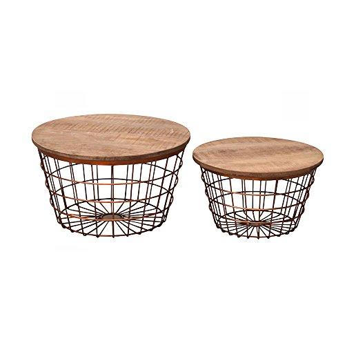 Wohnzimmertisch Set Holzdeckel Mit Metallgeflecht Korbtisch Beistelltische Passend Skandinavisch 2 Stuck Kupfer Amazonde Kuche Haushalt