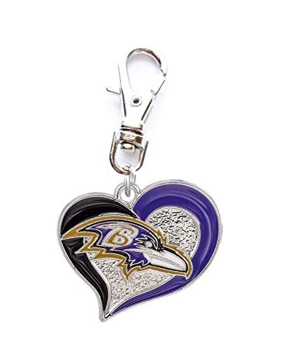 (Heavens Jewelry Baltimore Ravens Football Team Heart Charm ADD to Zipper Pull PET Dog CAT Collar Leash Keychain ETC)