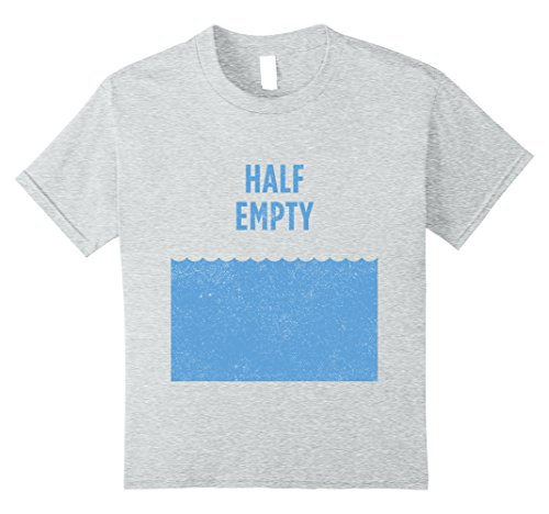 [Kids Pessimist Optimist Matching Shirts 1 of 2 - Glass Half Empty 10 Heather Grey] (Half Life 2 Costume)