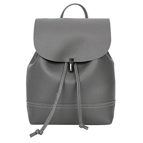 Clearance sale ! Vintage Pure Color Leather School Bag Backpack Satchel Women Trave Shoulder Bag ❤️ ZYEE (Dark Gray, 21cm(L)10cm(W)26cm(H))