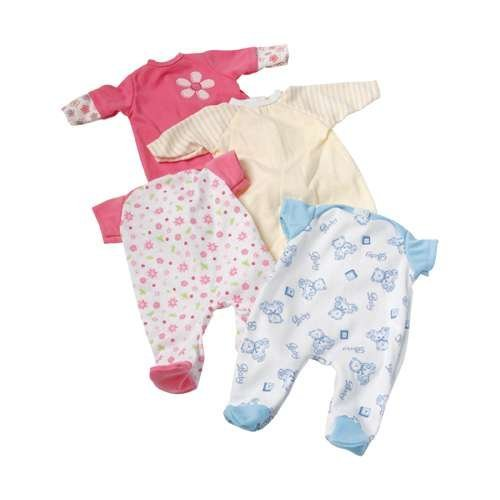 - Constructive Playthings Four Piece Sleeper Set for 12 Inch to 14 Inch Baby Dolls, Machine Washable Poly/Cotton Pajamas for Dolls