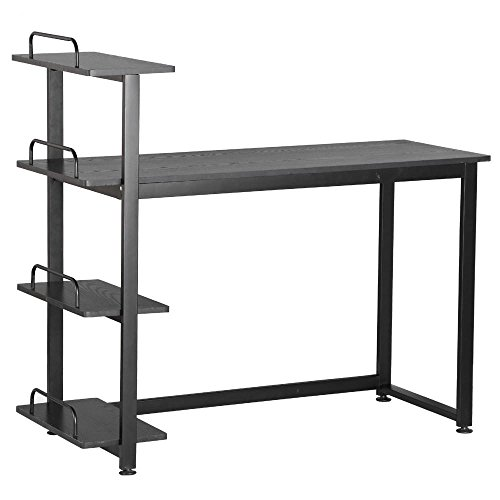 Yaheetech Wood Corner Computer Desk PC Laptop Table Workstation with 4 Tiers Shelves (Black)