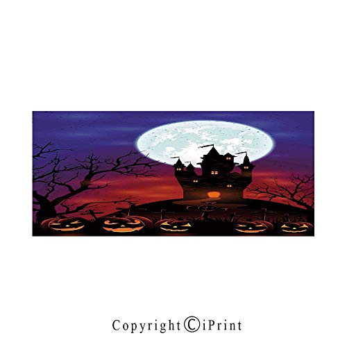 Halloween Decorations Large Premium Quick Dry Cotton & Microfiber Bath Towel,Gothic Haunted House Castle Hill Valley Night Sky October Festival Theme,for Travel Sports & Beach,W70.8 x L31.4 -