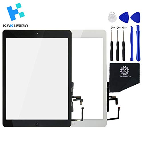 KAKUSIGA Compatible with ipad Air 1st (5th Generation) Touch Screen Glass Digitizer Replacement, Home Button Flex, Adhesive Tape,Repair Tools kit (Black)
