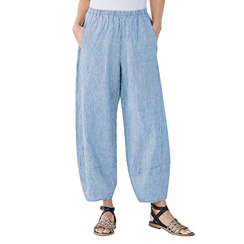 JOFOW Harem Pants for Women Plus Size Solid Vertical Striped Bloomers Aladdin Casual Loose Comfy Linen Long Pajamas Pant (S,Blue) -