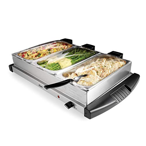 Oster Buffet Server Warming Tray | Triple Tray, 2.5 Quart, Stainless Steel (5 Piece Roaster Set)