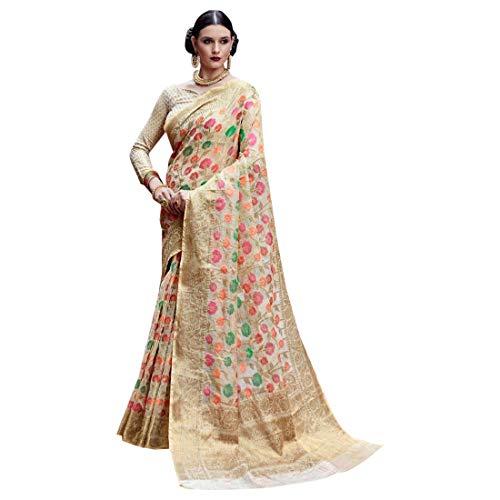 Organza Tissue Silk Thread Elegent Occasional Festival Zari Border Saree Sari Blouse Formal Women Indian 7362