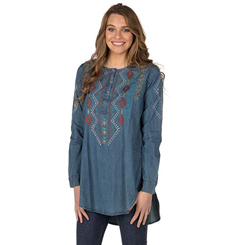 Roper Women's Aztec Embroidered Henley Tunic Indigo - Roper Shirt Embroidered