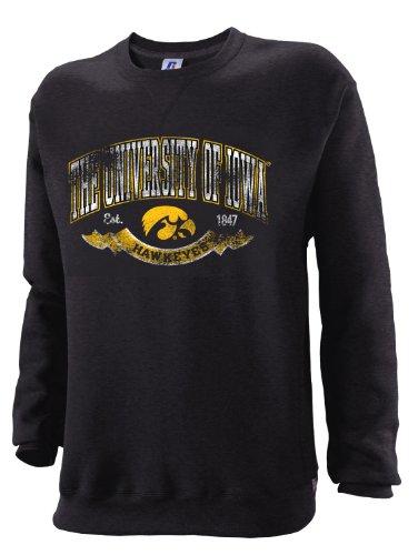 NCAA Iowa Hawkeyes Men's Dri-Power Fleece Crew, Black, Small