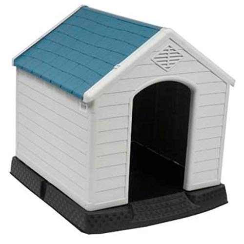 no!no! Plastic Indoor Outdoor Dog House Small to Medium Pet All Weather Doghouse Puppy Shelter White, Blue Roof by no!no!