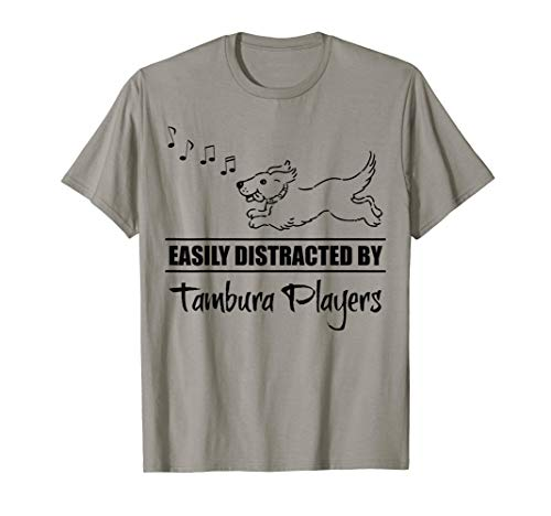 Running Dog Easily Distracted by Tambura Players Whimsical T-Shirt