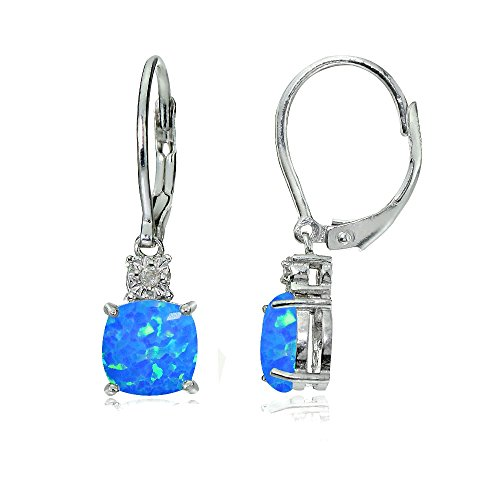 Sterling Silver Created Blue Opal Cushion-cut Dangling Leverback Earrings Cushion Cut Gemstone Leverback Earrings