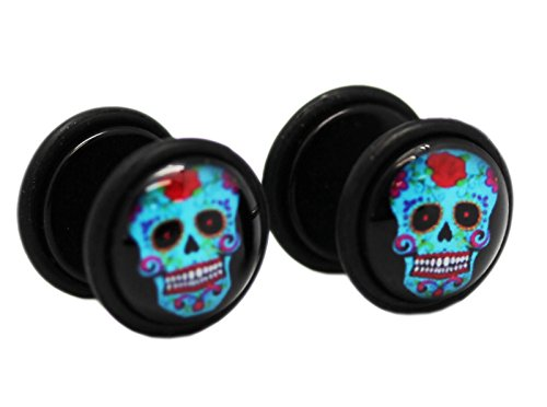 Colorful Blue Frankenstein Head Screw On Cheater Plugs for sale  Delivered anywhere in Canada