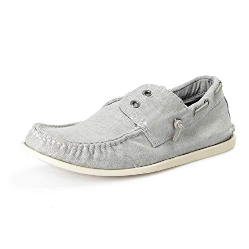 John Varvatos Star USA Men's Gray Schooner Boat Loafers Shoes US 8.5 IT 41.5