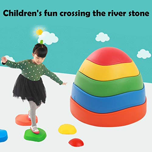 -  Walking Stone Clearance , Early Childhood Education Balance Toy Wave Rainbow Crossing River Stone by Little Story