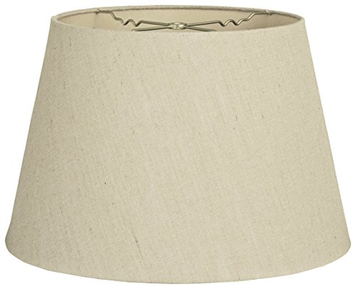 (Royal Designs HB-606-16LNBG Tapered Shallow Drum Hardback Lamp Shade, Linen Beige, 12 x 16 x)