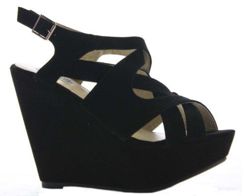Gelb High Hochzeit Plattform Damen Damen Wedges Heel Größe Schuhe Sandalen Toe Riemchen Peep 5qzBx1q7w