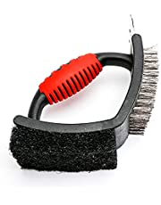 BBQ Grill Brush,with Stainless Steel Scraper,3 in 1 Bristles Grill Cleaning Brush(Grill Scraper,Copper Wire Brush,and Sponges)