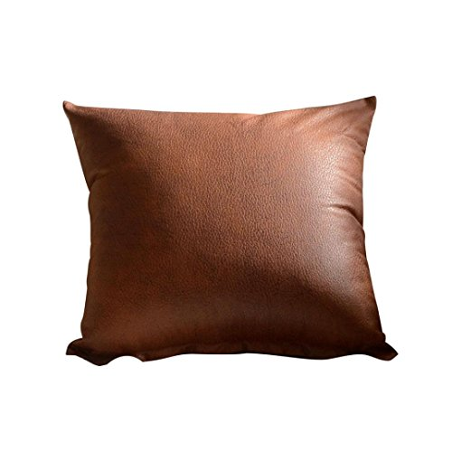 MaxFox Imitation Leather Throw Pillows Cover Pillow Square Cases for Sofa Home Car Decor (B)
