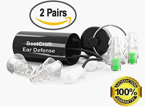 BestCrafts Ear Plugs (2 Pairs 23/28 Decibel) for Musician Concerts Airplane Motorcycle