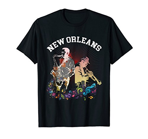 Jazz Lovers New Orleans Louisiana Shirt with Trumpet and Sax