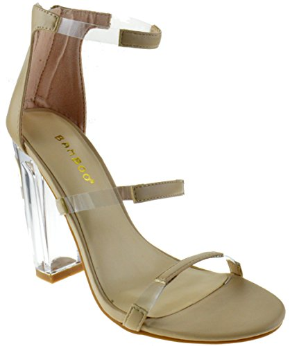 ab17a2d89ae Hyphen 07 S Womens Clear Chunky Heel Anckle Buckle Platform ...