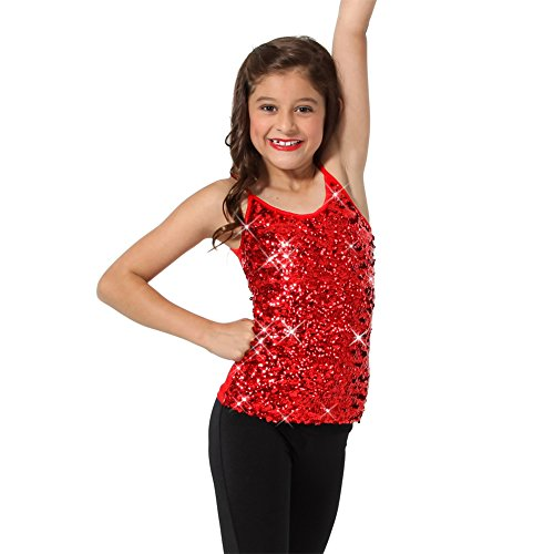 Sparkly Sequin Tank Top - Red - Youth -