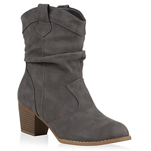 Stiefelparadies Damen Cowboy Boots Stiefel Holzoptikabsatz Leder-Optik Stiefeletten Blockabsatz Schuhe Metallic Glitzer Booties Flandell Grau Amares