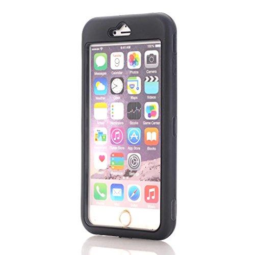 """iPhone 6S Plus Coque,iPhone 6 Plus Coque,Lantier Heavy Duty double couche tactile antichoc couverture souple de protection avec disque PC interne pour Apple iPhone 6 Plus/6S plus 5.5 """"Noir + Noir"""