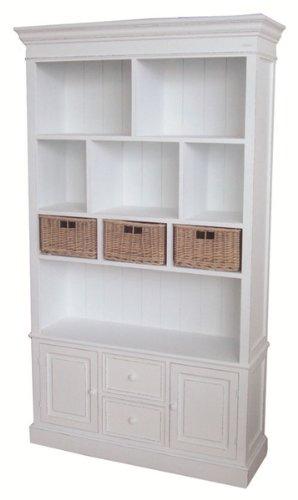Credenza scaffale in legno Rattan bianco stile Shabby Chic da ...