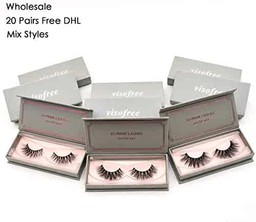 c0648addd09 Wholesale 20 pairs False Lashes Free DHL Visofree 3D Mink Eyelashes Natural  Long False Eyelashes/