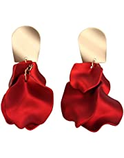 PRETYZOOM 1 Pair Rose Petal Dangle Earrings Alloy Exaggerated Red Rose Long Drop Floral Tassel Earrings for Women Girls Wedding New Year Christmas Party (925 Silver)