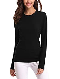 Abollria Women's Long Sleeve Soft Round Neck Slim Fit Knit Sweater Pullover Top