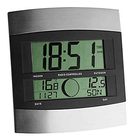 IT Reloj Digital de Pared con termómetro y Sensor Remoto, Negro, Plata: Amazon.es: Hogar