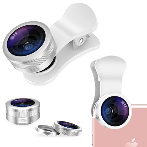 TORRAS Camera Lens Kit, 3 in 1 Clip-on Metal Cell Phone Lens Kit, Fisheye Lens & Wide Angle Lens & 15X Macro Lens iPhone, iPad, Android Phones - Silver