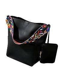 ShiningLove Luxury Stylish PU Leather Shoulder Bag Solid Bucket Cross Body Bag Unique Colorful Straps Handbag
